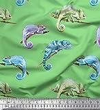 Soimoi Grun japanischer Kreppsatin Stoff Chamäleon Reptil