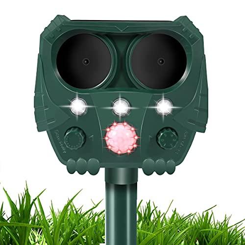 Ultrasonic Dog Chaser, Animal Deterrent with Motion Sensor and Flashing Lights Outdoor Solar Farm Garden Yard Repellent