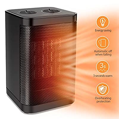 1500W / 750W Ceramic Space Heater with Overheat Protection & Tip-Over Protection, Portable Heater with Thermostat Control for Office and Home