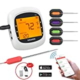 Grillthermometer Bluetooth, Digital Wireless BBQ Thermometer Grill mit 4 Sonden, Funk Thermometer Bratenthermometer Fleischthermometer Set für Küche, Smoker, Steak, Unterstützt IOS, Android