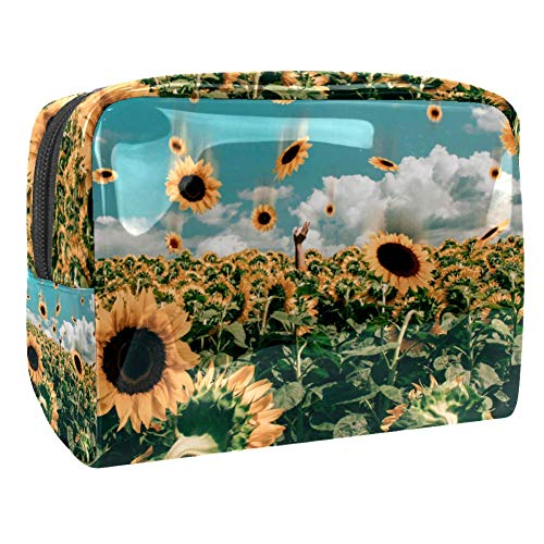 Maquillage Cosmetic Case Multifunction Travel Toiletry Storage Bag Organizer for Women - Abstract Sunflower Field