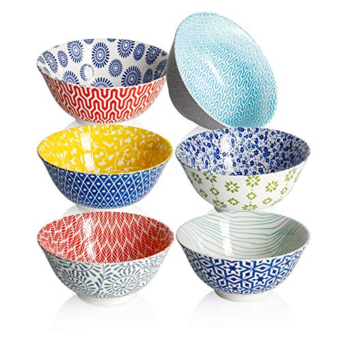 Amazingware Porcelain Bowls - 18 Ounce for Cereal, Soup, Salad and Pasta, Set of 6, Assorted Designs