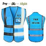 YOWESHOP High Visibility Reflective Safety Vest Customize Logo with 5 Pockets...
