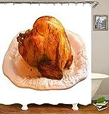 TIAQUN Drumstick-Duschvorhang, gekochtes Essen Drumstick auf dem Topf, appetitlich Huhn Drumstick Duschvorhang Badvorhang für Badezimmer Dekor mit Haken, Polyester, Style4, 65