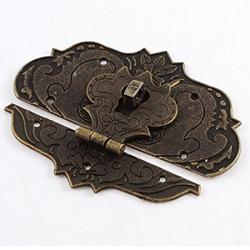 sourcing map –® 97mmx73mm maleta Joyero aldaba para candados Latch Lock tono de bronce antiguo