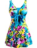 Wantdo Women's Swimdress Push Up Swimsuit Swimwear Beachwear Plus Size LakeBlueFlower US 12-14