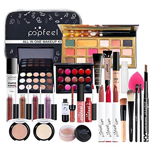 Schmink Set Make-Up Set Kosmetik Makeup Paletten Schminkkoffer Schminke Mit Lidschatten Lippengloss Concealer Für Gesicht, Augen Und Lippen