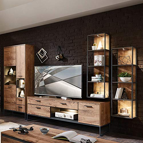 Lomadox Industrial-Design TV-Wohnwand in Haveleiche Cognac Dekor mit Matera anthrazit
