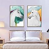 wZUN Cavallo Animale Arte Astratta Pittura su Tela Poster e Stampe Soggiorno Moderno murale Decorazione Pittura 50X70CM
