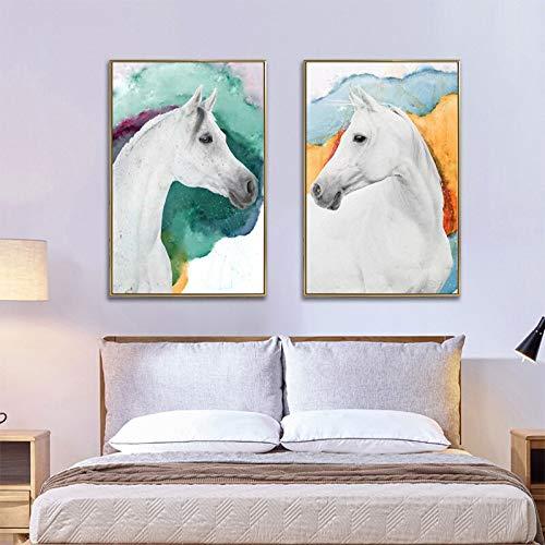 wZUN Caballo Animal Arte Abstracto Lienzo Pintura Carteles e Impresiones Sala de Estar Moderno Mural decoración Pintura 50X70 CM