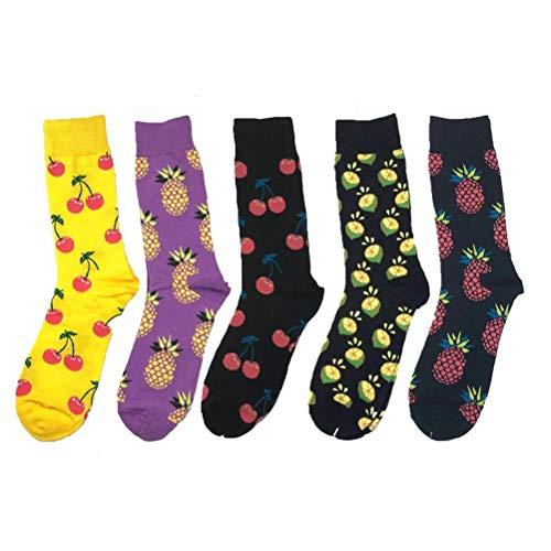 BESPORTBLE 5 Paar Unisex Obst Muster Gedruckt Socken Weiche Breathable Beiläufige Sport Crew Socken für Männer Frauen (Zufälliger Stil, freie Größe)