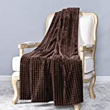 CUTEWIND Soft Warm Cozy Throw Flannel Lightweight Blanket Luxury Microfiber Bedding for Bed Couch Sofa Car 50x60 inch Coffee Brown