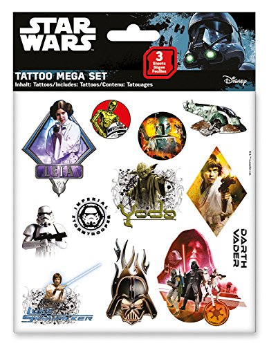 CRAZE Tattoos Star Wars Tattoo Mega Set 3 Bögen Klebetattoos für Kinder Party Mitgebsel Mitbringsel 55671, Kindertattoo