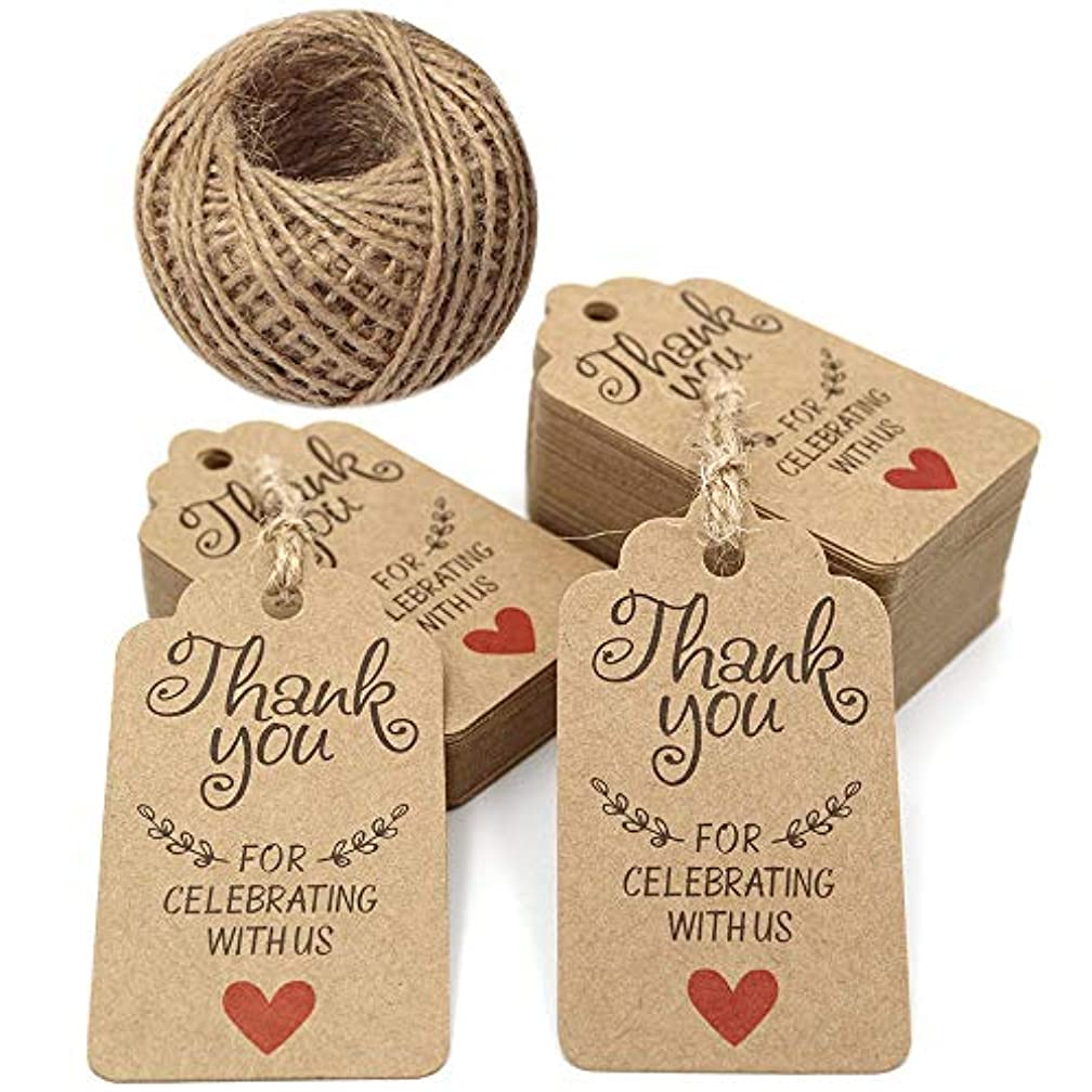 Original Design 7x4 cm Gift Tags,Baby Shower Tags,Thank You for Celebrating with Us Tags,100 Pcs Brown Thank You Tags with 100 Feet Jute Twine for Wedding Party Favors