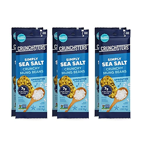 Crunchsters Crunchy Mung Beans Snack, Gluten-Free, Nut-Free, Vegan, 7g Protein/Serving, 1.3oz. Bags, Sea Salt, 6-Pack (Packaging May Vary)