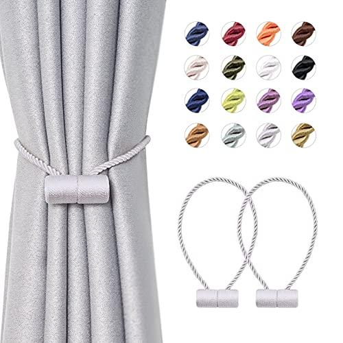 NICEEC 2 Pack Upgrade Magnetic Curtain Tiebacks 16 Inch Handmade Weave Rope Curtain Holdbacks Convenient Decorative Cylinder Curtain Drape Tie Backs for Home & Office Window Drapery (Grey)