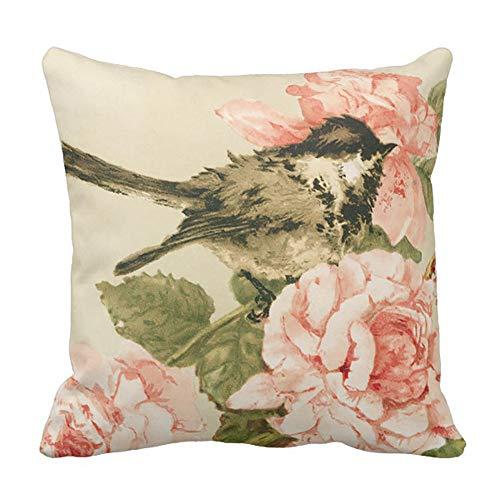 DearLord Vintage negro blanco pájaro rubor rosa flores manta almohada funda de cojín 45 x 45 cm