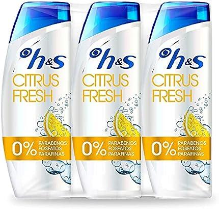 H&S Champú Citrus Fresh Anticaspa Champú para el cabello graso pH equilibrado 3 Champús 540 ml