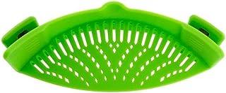 iNeibo Escurridor de Cocina con Asas de Silicona de Primera Calidad Colador Pasta Escorredor para Ollas Sartenes Verde Tamaño 23x8x6cm