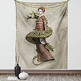 Tapiz de fantasía de Geisha occidental con grito de maquillaje envuelto por dragón espiralling colgante de pared para dormitorio, sala de estar decoración de dormitorio
