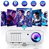 Android Bluetooth Projector,Wireless WiFi 4800 Lumen LED Outdoor Movie Projector for Home Theater Gaming,Compatible with Smart Phone DVD Player Fire Stick HDMI USB AV Audio VGA Support Airplay Zoom