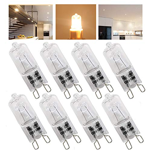 8 Pack,G9 Halogen Light Bulbs 40 Watt,Crystal Clear Lense, T4/Q40/G9/CL/120V JD Type Halogen House Hold Light Bulb,for Hanging Pendant Accent Type Spot Down Lamp Chandelier Sconce Fixture Lighting