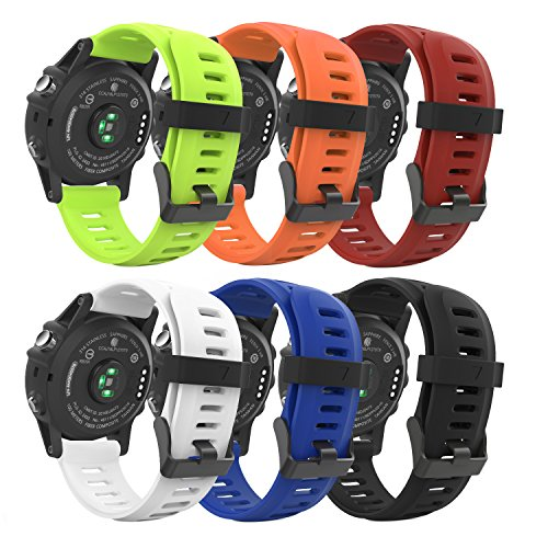MoKo Band Compatible with Garmin Fenix 3, [6PCS] Soft Silicone Replacement Watch Band for Garmin Fenix 6X/Fenix 6X Pro/Fenix 3/Fenix 3 HR/Fenix 5X/5X Plus/D2 Delta PX/Descent Mk1 - Multi Colors