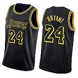 QPY Camiseta de baloncesto Laker con estampado de serpiente negra para hombre, camiseta sin mangas unisex (S-XXL) Bryant24-XXL