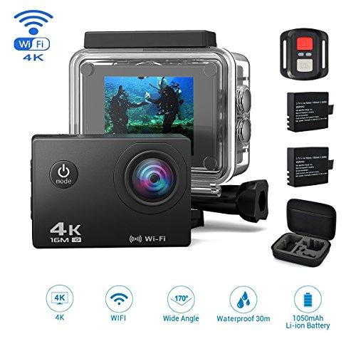 jindia 4 K Action Camera, 16 MP Ultra HD Casco Cam impermeabile fino a 30 m 2.0 pollici Display con 2.4 G telecomando, 2 ricaricabile BAREN ricaricabili