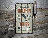 free brand Señal de delfín Tours, cartel de decoración de delfín, estilo de vida del océano, decoración de la casa, decoración de madera para la venta de la casa, cartel de madera antiguo