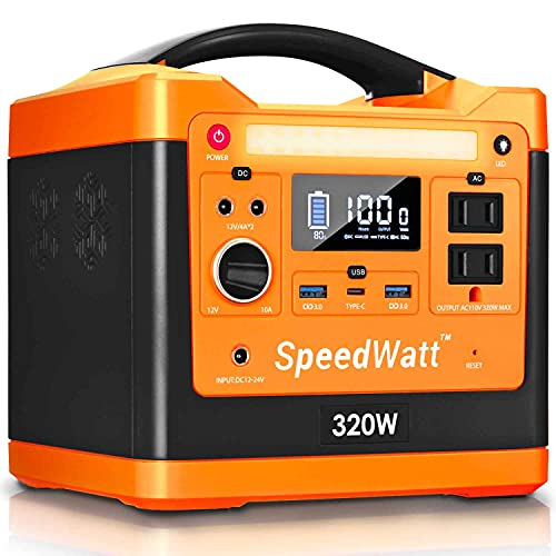 SpeedWatt Neon Orange Portable Power Station, 298 Wh/96000 mAh Compact Backup Lithium Battery for Outdoors Travel Camping Emergency Blackout, 110V/320W AC USB Type-C 60W PD (Solar Panel Not Included)
