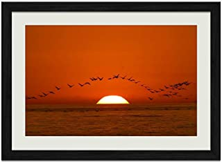 Sunset Sea Birds - Art Print Wall Black Wood Grain Framed Picture(16x12inches)