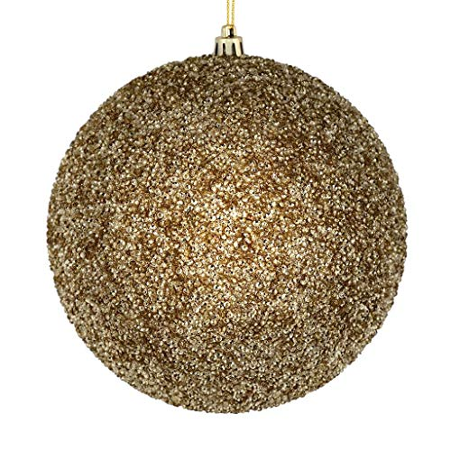 """Price comparison product image Vickerman 532416-6"""" Champagne Beaded Ball Christmas Tree Ornament (4 pack) (N185838D)"""
