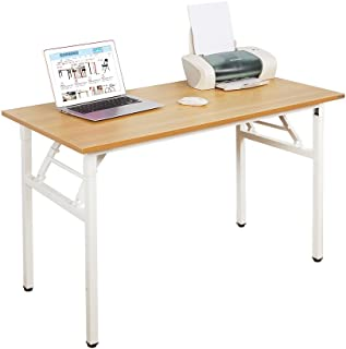 Need 55 inches Computer Desk Office Desk Folding Table with BIFMA Certification Computer Table Workstation,Teak White AC5BW-140