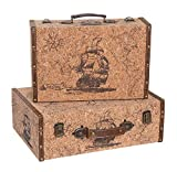 Alice's Collection Juego de 2 maletas de almacenamiento de madera con acabado de corcho, diseño de barco – 39 x 27 x 13 cm y 34 x 22 x 11 cm
