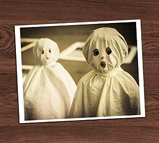 Creepy Cute Ghost Kids Vintage Photo Sheet Costumes Art Print 8x10 Wall Art Halloween Decor