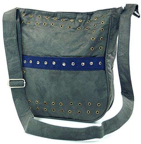 GURU SHOP Bolso de Hombro con Remaches Bali - Gris, Unisex - Adultos, Sintético, Tama�o:One Size, 27x23 cm, Bolsas de Hombro