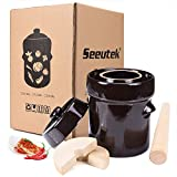 Seeutek Fermentation Crock Jar 5 Liter / 1.3 Gallon - Stoneware Pot for Fermenting, Pickling Kimchi, Pickles, Vegetables, Kombucha - Glazed Fermenter with Stone Weights, Lid & Pickle Tamper