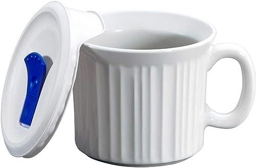 Corningware Pop-Ins Mug with Vented Plastic Cover, 591 ml, White, 591 ml
