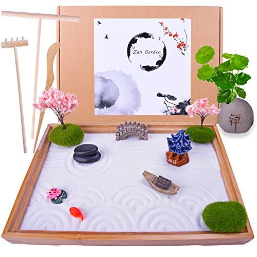 Japanese Zen Garden - Home & Office Desk Mini Garden with Rock Vase Fish Bridge Boat Cherry Trees -...