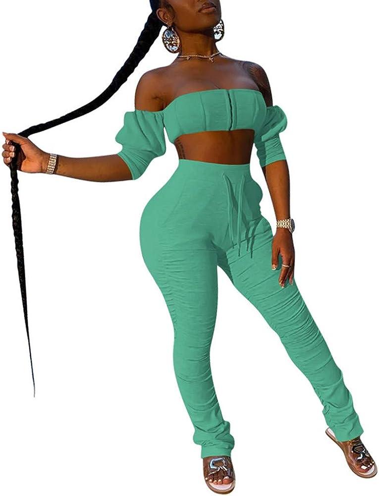 2 Piece Off Shoulder Tracksuit - Women Sle Bandeau Crop Top Limited time New sales cheap sale with