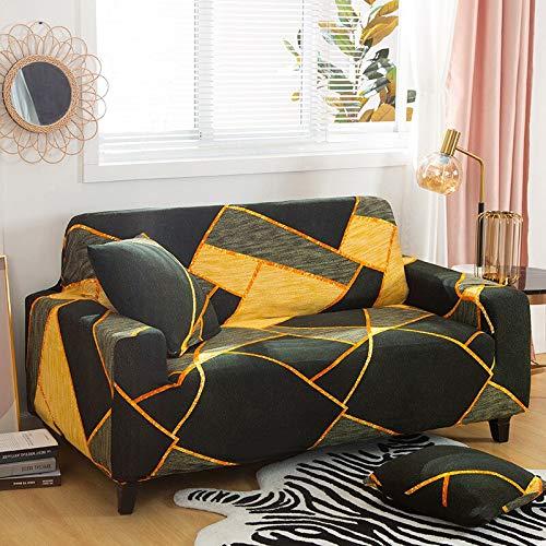 WXQY Combinación de Funda de sofá elástica con patrón geométrico, Esquina en Forma de L, combinación de Funda de sofá Antideslizante Envuelta herméticamente, A18, 3 plazas