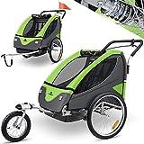 KESSER® Cruiser Kinderanhänger Fahrradanhänger 360° Drehbar mit Federung 2in1 Joggerfunktion Kinderfahrradanhänger + 5-Punkt Sicherheitsgurt, Jogger fahrrad Anhänger für 1 bis 2 Kinder max. 40kg Grün