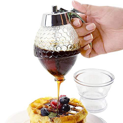 Glass Syrup Dispenser for Pancakes - No Drip Honey Dispenser Glass - Syrup Bottle 8 Oz