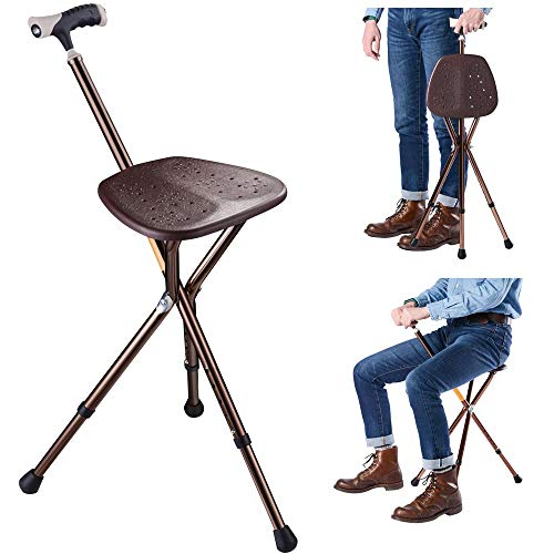 AW Portable Folding Seat Cane Walking Stick Height...
