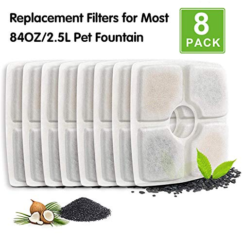 PK.Ztopia Cat Fountain Replacement Filter -Pack of 8, Pet Fountain Filters, Square Cat Fountain Filters for 84oz/2.5L Automatic Pet Fountain Cat Water Fountain Dog Water Dispenser