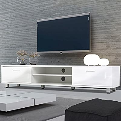 Voilamart TV Cabinets Unit 160CM for Living Room Bedroom White TV Stand Lowboard with Storage Shelf and Double Doors, TV Entertainment Center for 60 Inch Screen