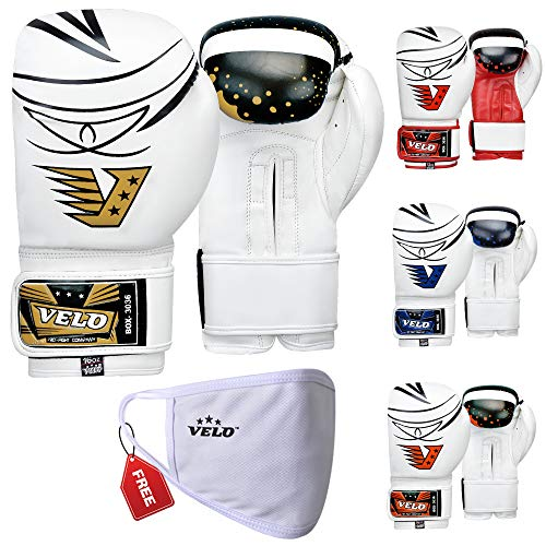 VELO. Pro Boxhandschuhe MMA Bag Training Sparring Punch Muay Thai Flex Leder Kick Hand Glove Wraps Professional (Gold, 113 g)