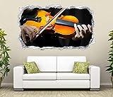 3D Wandtattoo Musik Geige musizieren Noten Wand Aufkleber Durchbruch Stein selbstklebend Wandbild Wandsticker 11N500, Wandbild Größe F:ca. 140cmx82cm