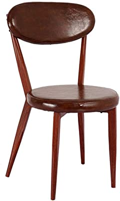 XINGPING Iron Butterfly Chair Iron Chair Bar Iron Dining Chair Iron Chair Simple Retro Dining Chair Imitation Wood Chair (Color : Dark Coffee Color)